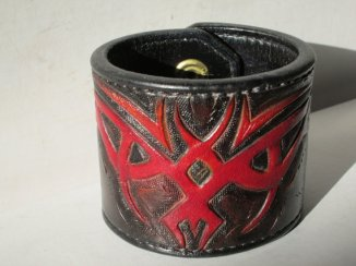 Celtic Warrior tooled leather cuff by AcrossLeather on Etsy