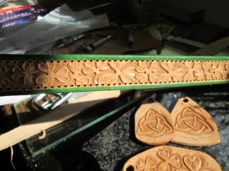 Irish themed collar for Beamish, leather dog collars,pet accessories,handmade,hand tooled,new castle DE,lawrence carter author